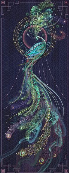though this is a peacock something like this in reds & oranges would make an awesome firebird illustration Pfau Tattoo, Art Fractal, Peacock Tattoo, Tattoo Feather, Tattoo Bird, Wow Art, Art Graphique, Oeuvre D'art, Amazing Art