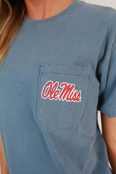 Ole Miss Unisex Comfort Color Pocket Tee College Outfits, College Attire, College Closet, Ole Miss Sweatshirt, Ole Miss Apparel, T Shirt Fundraiser, School Spirit Wear, Greek Clothing, Tee Shirt Designs