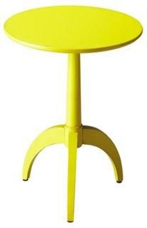 Hawa Tripod-Pedestal Side Table, Bright Lemon Yellow -- This clean-lined pedestal table is crafted from poplar hardwood solids and wood products. It features a pearlesque vibrant yellow finish over birch veneers.