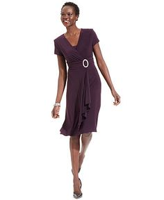 R Richards Dress, Short-Sleeve Faux-Wrap - Womens Dresses - Macy's