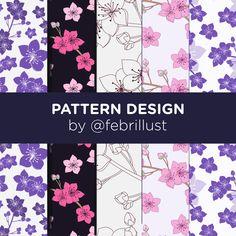 Behance Net, Sakura, Pattern Design, Digital, Paper, Illustration, Flowers, Illustrations, Royal Icing Flowers