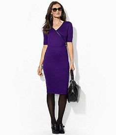 373fed77541 dillards dresses purple Faux Wrap Dress