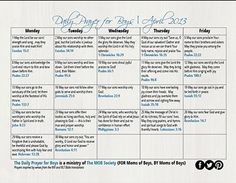 The FREE April 2013 Daily Prayer for Boys Calendar is waiting for you over on the MOB Society blog! Click over for the download and print it out!