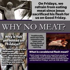 Why Catholics Abstain From Meat On Fridays During Lent ❤️ - It is done as a sacrifice and a penance remembering what Jesus suffered for us. Catholic Beliefs, Catholic Quotes, Catholic Prayers, Catholic Traditions, Christianity, Catholic Lent Rules, What Is Lent Catholic, Catholic Easter, Catholic Religious Education
