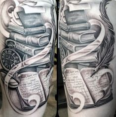 75 Book Tattoos For Men - Reading Inspired Design Ideas - Male Thighs Books And Feathered Quill Tattoo You are in the right place about 75 Book Tattoos For Me - Writer Tattoo, Book Tattoo, Bookworm Tattoo, Quill Tattoo, Hp Tattoo, Tiny Tattoo, Tattoo Flash, Disney Infinity, Thigh Piece Tattoos