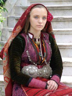 Bulgarian girl in traditional dress.