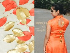 Coral Satin Linen Applique'Dress with gold trimmings by Miss Kaur #HouseOfKaur