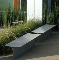 Simple, Backless  Steel Bench