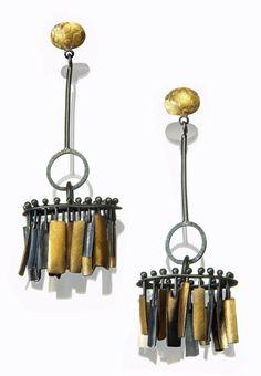 Sydney Lynch, Artist, Mambo earrings, Oxidized sterling silver & 22k gold, 2.625 inches long