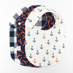 Each bib is handcrafted in Charleston, SC from premium cotton and fleece. Nautical Nursery, Nautical Baby, Toddler Bibs, Baby Bibs, Diaper Clutch, Clear Plastic Bags, Wet Bag, Fabric Bows, Handmade Baby