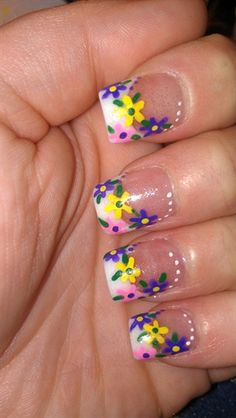 Spring flowers by PJsNailBarr - Nail Art Gallery nailartgallery.nailsmag.com by Nails Magazine www.nailsmag.com #nailart