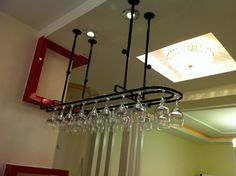 Wrought Iron Ceiling Hanging Wine Glass Rack-Kitchen > Wine Racks and Coolers-Loluxe