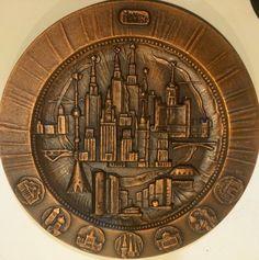 "MOCKBA (Moscow) Russia Die-Cast Metal Plate Wall Decor -12"" - Copper Finish    eBay"
