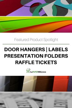product spotlight door hangers presentation folders labels and raffle tickets