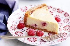 This smooth, creamy cheesecake is packed full of raspberries and white chocolate. Give it a whirl!