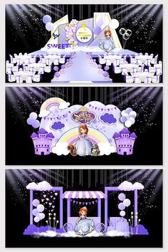Purple dream princess baby feast stage renderings#pikbest#decors-models Wedding Backdrop Design, Wedding Stage Design, Wedding Stage Decorations, Birthday Decorations, Table Decorations, Baby Birthday Themes, Fantasy Princess, European Wedding, Balloon Backdrop