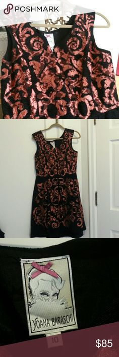 "Anthro Dress, like new never worn. Beautiful Anthropologie black dress with copper like lace detail. Never worn though tried on in vain many times hoping it would fit. The fabric is plush but does not stretch. 16""waist when measured flat. 40.5"" from shoulder to hem. Seen on TV, by Annabeth on Hart of Dixie. #teamwade Anthropologie Dresses"