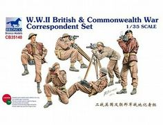 The Bronco British Commonwealth War Correspondents in 1/35 scale from the plastic figure model kits range accurately recreates the real life war correspondents of the British Commonwealth during World War II. This Bronco figure models set requires paint and glue to complete.