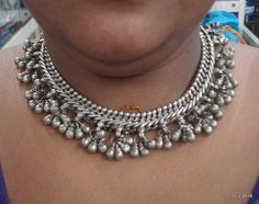 vintage antique ethnic tribal old silver necklace choker