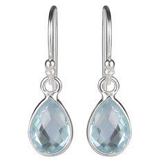 Flotte øreringe i sølv med dråbeformede blå topas ædelstene