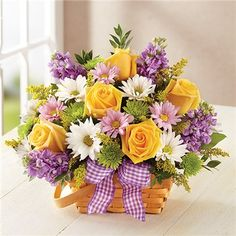 Send beautiful flower arrangements to brighten someone's day! Whether looking for a floral arrangement of roses or mixed flowers, find something perfect! Basket Flower Arrangements, Beautiful Flower Arrangements, Flower Centerpieces, Flower Decorations, Floral Arrangements, 800 Flowers, Silk Flowers, Black Flowers, Easter Flowers