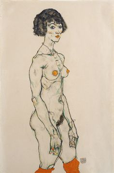 Egon Schiele. Standing nude in orange stockings 1914