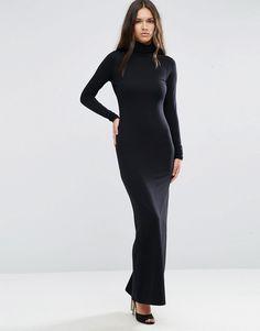 ASOS Bodycon Maxi Dress With Polo Neck