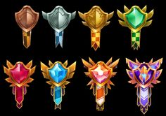 ArtStation - League Badges and Banners, Selin Aydin Game Ui Design, Badge Design, Icon Design, Game Concept, Logo Concept, Anime Love Story, Badge Icon, Game Gui, Game Interface