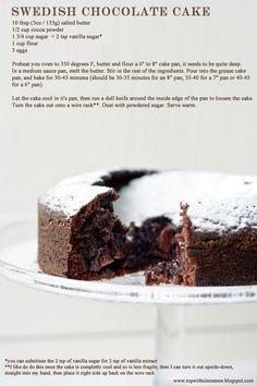 Swedish Chocolate Molten Cake.