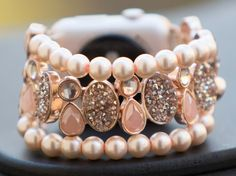 Apple Watch Band Women's,Rose Gold, Strech to Fit Beaded, Apple Watch Band for Her Apple Watch Strap, Apple Watch Band 42 mm Jewelry by GirlTechFinds on Etsy https://www.etsy.com/listing/493159981/apple-watch-band-womensrose-gold-strech