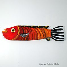 Reclaimed Wood Fish Decor Painted Red Folk Art by TaylorArts.etsy.com