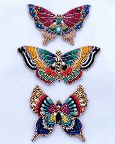 Maybe we'll be butterfly's - - next lifetime 🦋 - - 🐝 (Broaches/ pendents - matching stud earrings to come with butterfly soon) Broderie Perlée Bead Embroidery Patterns, Bead Embroidery Jewelry, Ribbon Embroidery, Floral Embroidery, Beading Patterns, Beaded Jewelry, Embroidery Designs, Embroidery Stitches, Indian Embroidery