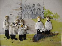 """Crafty Choristers"" - a Stumpwork embroidery by Grace Lister"