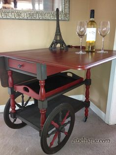 painted furniture, furniture furniture revivals, painting, Tea Cart Finished in Espresso and Emperors Silk