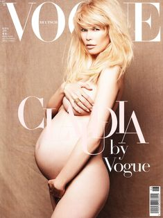 Claudia For Vogue pregnant photo shoot Front cover....
