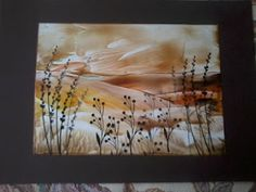 card made with encaustic wax and iron