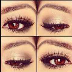 wedding makeup for brunettes with brown eyes. I would like this more, without the eyeliner on the bottom