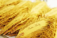 gold FEATHER Wedding place cards HANDmade of by liradesigne, €2.00