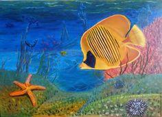 """Купить Картина маслом """"Морская бабочка"""", море, рыба, красное море, черепаха - синий, оранжевый"""