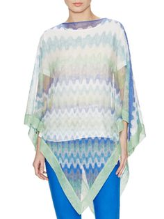 Open Knit Printed Poncho from Sunny Essentials: Spring Accessories on Gilt