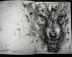 Sketch of Wolf. Animal Sketch Drawings and Mural Paintings. By Hua Tunan.