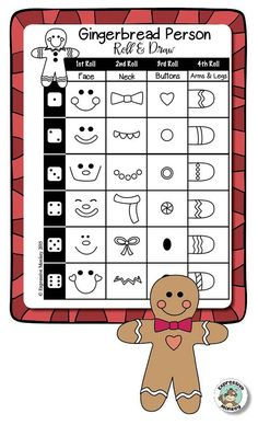 Draw a Gingerbread Person with a Roll & Draw page. Drawing Activities, Drawing Games, Projects For Kids, Art Projects, Crafts For Kids, Christmas Activities, Activities For Kids, Art Sub Plans, Winter Drawings