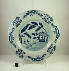 18th Century English Delft Blue & White Plate Chinoiserie Pagoda & Geese ca1760  | eBay