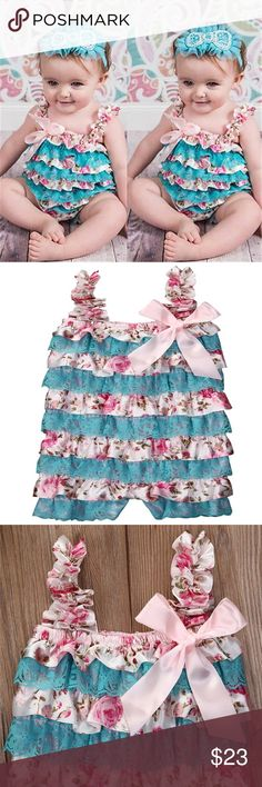 Gorgeous Lace Romper w/Bow 🎉🎉COMING SOON🎉🎉 Just in time for Spring. A must have in ever little girl's closet. One Pieces