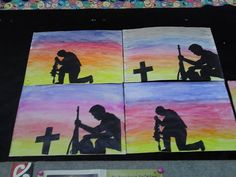 ANZAC art - water based paint or dyed background with black paper silhouette Remembrance Day Activities, Remembrance Day Art, Primary School Art, Elementary Art, Ww1 Art, Poppy Craft, Anzac Day, School Art Projects, Teaching Art