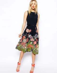 ASOS Midi Skater Dress In Floral Border Print