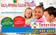 Totsville Loves Kids!!! Our awesome teachers are nurturing and caring with great focus on the needs of all individual children. Our affordable and flexible programs are the BEST in the area. Totsville provides free meals, snacks, beverages, infant formula, diapers, and wipes. To assist families on subsidy care or to assist guardians, Totsville does not charge any copayment, excess fees, registration fees, or deposit.  Call 732-888-5437 for details.