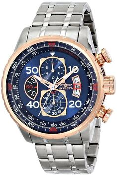 """Invicta Men's  """"AVIATOR"""" Stainless Steel 18k Rose Gold Ion-Plated Casual Watch #Invicta #Casual"""