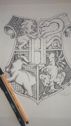 Hogwarts Coat of Arms in Pointillism . - Hogwarts Coat of Arms in Pointillism Potter - Harry Potter Tattoos, Harry Potter Diy, Harry Potter Sketch, Harry Potter Tumblr, Harry Potter Memes, Wallpaper Harry Potter, Harry Potter Artwork, Harry Potter Drawings, Hogwarts
