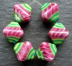 Lampwork Glass Beads 044 Crystals 6 Watermelon by beadgoodies, Etsy $26.00 <3<3<3AWESOME<3<3<3